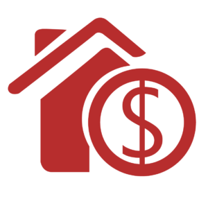 Sell Icon, House and Money Sign